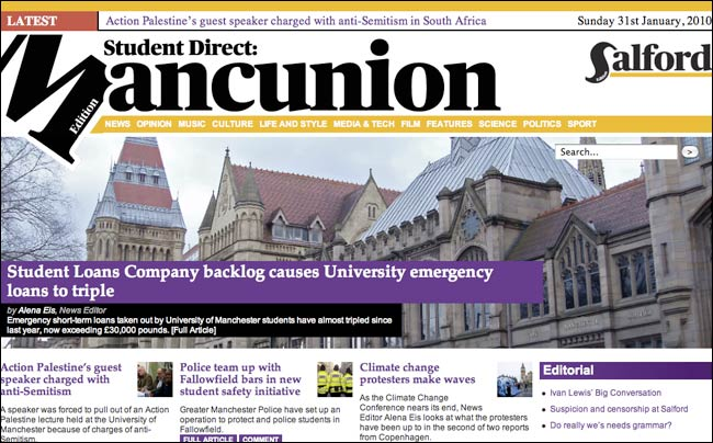 Manchester Student Direct homepage