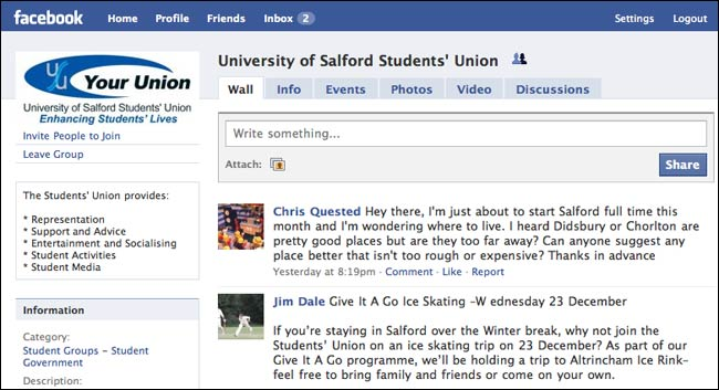Salford Student Union Facebook page