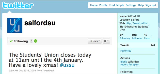 Salford Student Union out of date Twitter stream