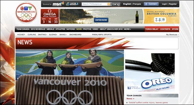 CTV Olympics frontpage