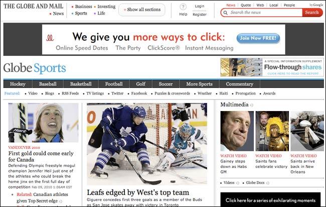 Canada's Globe Sports homepage