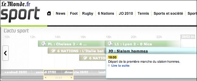 France's Le Monde timeline pop-up