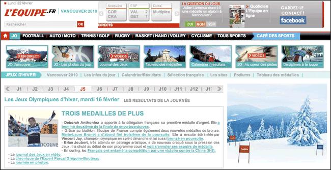 L'Equipes 'En direct' Olympic coverage timeline