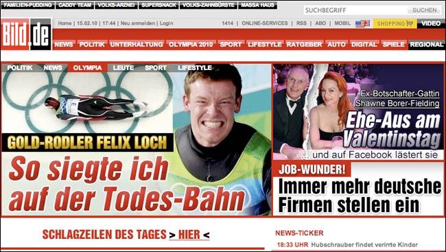 Germany's Bild web front