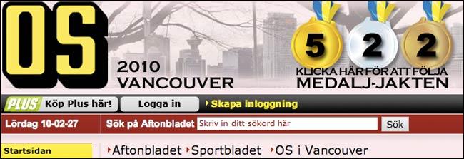 Sweden's Aftonbladet medal masthead