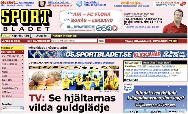Sweden's Aftonbladet Sport front