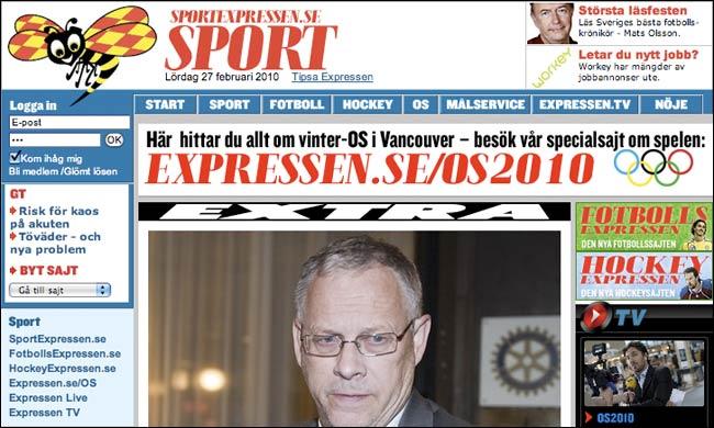 Sweden's Expressen Sport Front