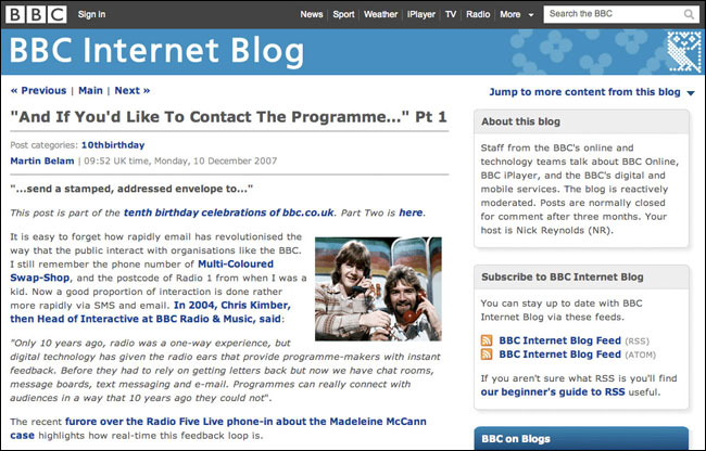 One of my articles on the BBC Internet Blog