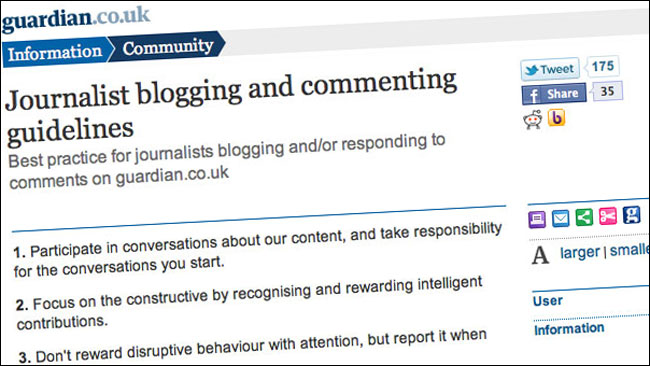 The Guardian's blogging and social media guidelines for journalists