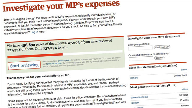The Guardian's MP's Expenses application