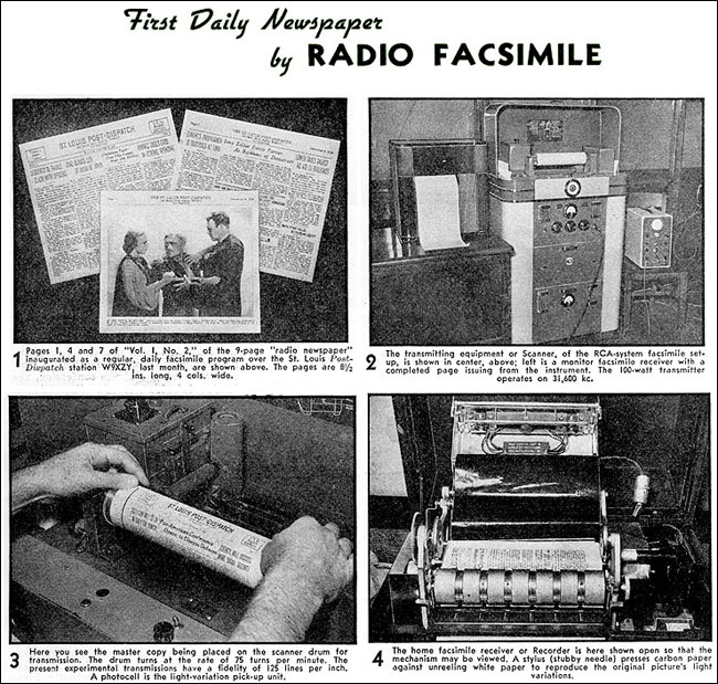 The newspaper radio facsimilie machine from 1939