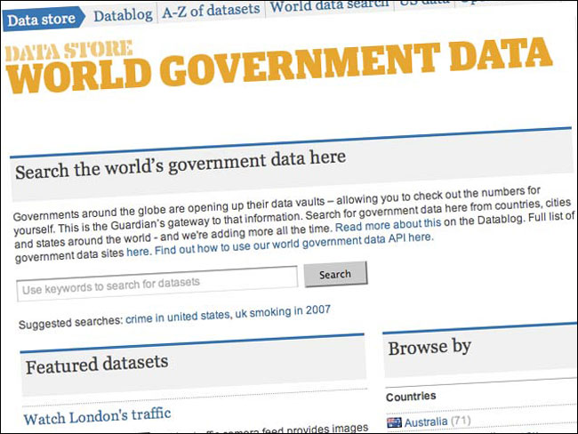 The Guardian's World Government Data search engine