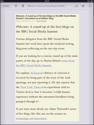 Instapaper page layout