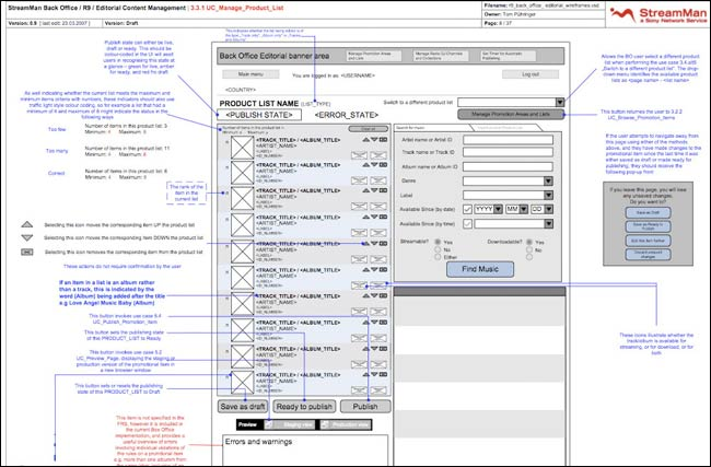 Sony Back Office wireframe