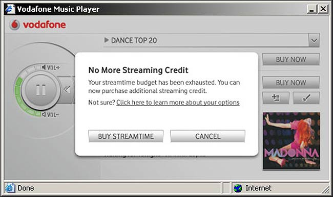 Credit expiry design on the Vodafone streaming music service