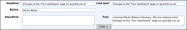 Trail Text area in the Guardian CMS