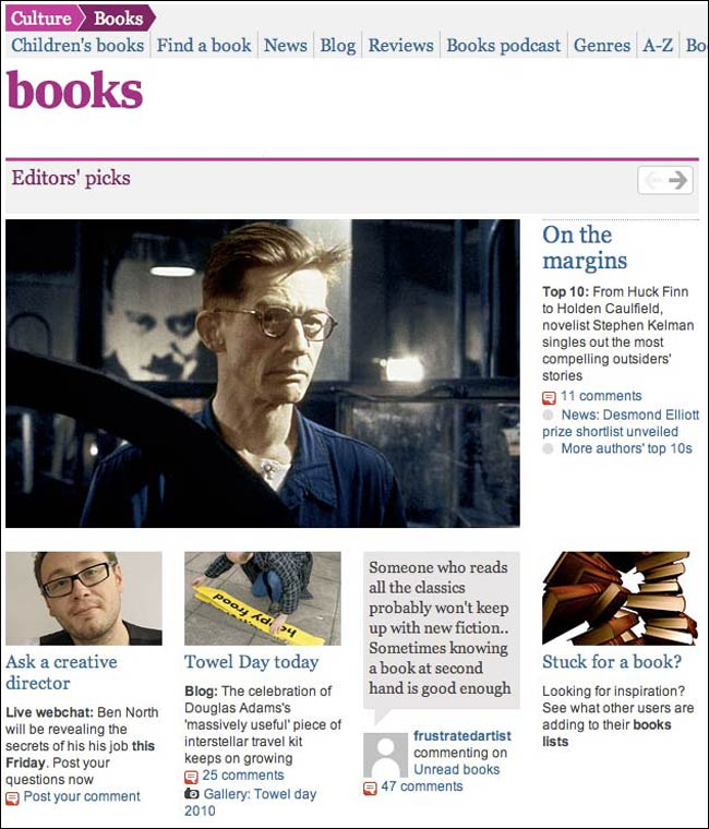 The relaunched Guardian Books site