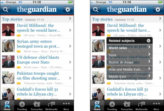 Related tag navigation on the Guardian iPhone app