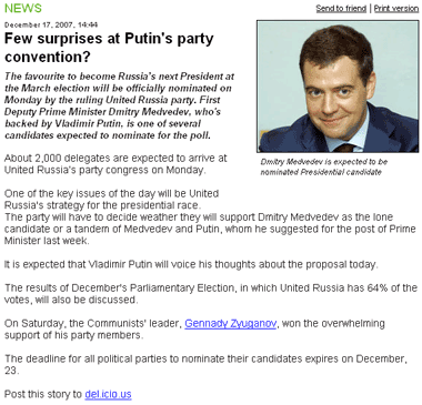 Russia Today social bookmarking link
