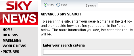 Sky News advanced search interface
