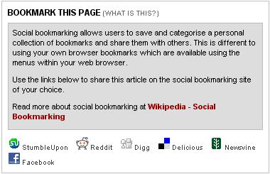 Sky News social bookmarking links and contextual help