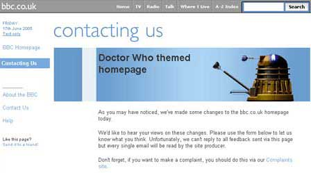 Appeal for email feedback about the Doctor Who themed BBC homepage