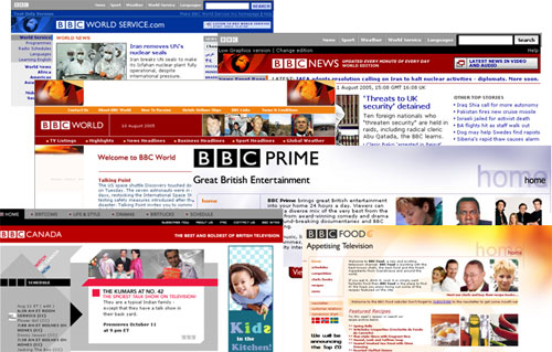 Examples of the BBC brand across global properties