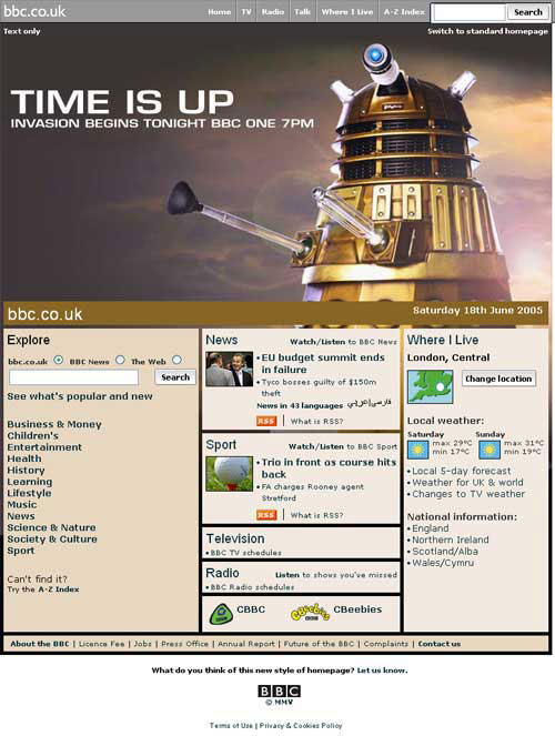 The BBC's special Dalek homepage from 2005