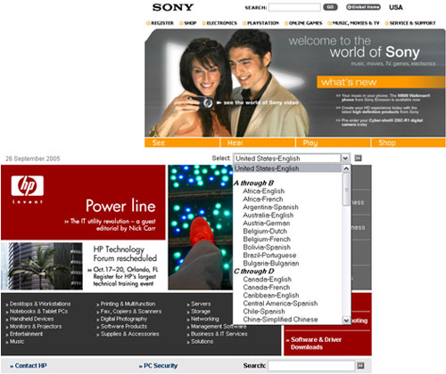 Internationalisation on the Hewlett Packard and Sony sites
