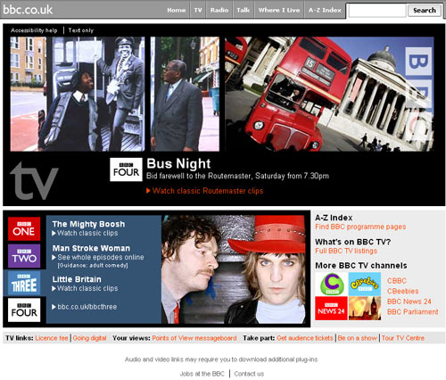 Re-launched BBC TV site