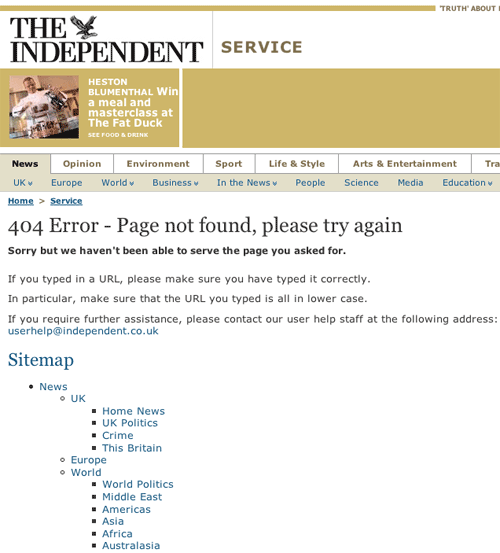 The Independent 404 page
