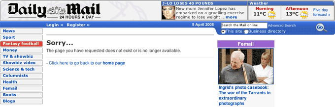Daily Mail 404 page