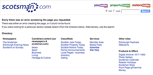 The Scotsman 404 page