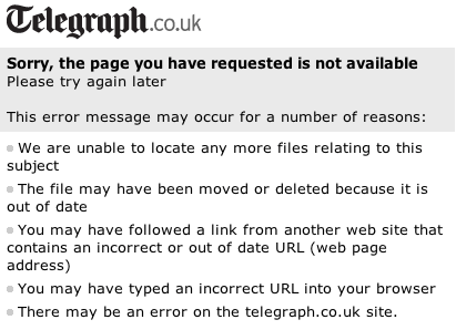 The Telegraph 404 page