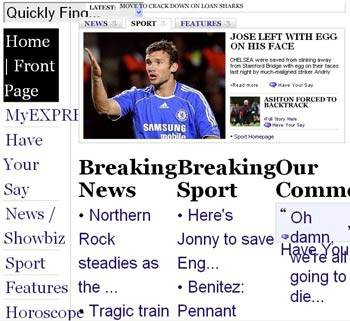 Screenshot of text resize on The Daily Express site