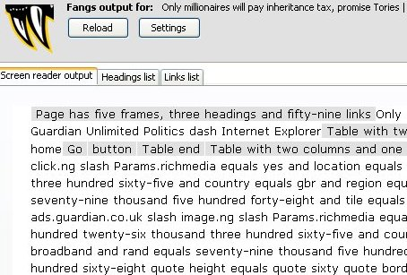FANGS making a mess of a Guardian story page