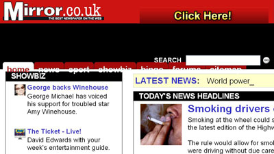 Screenshot of The Mirror site with broken resized text in Firefox