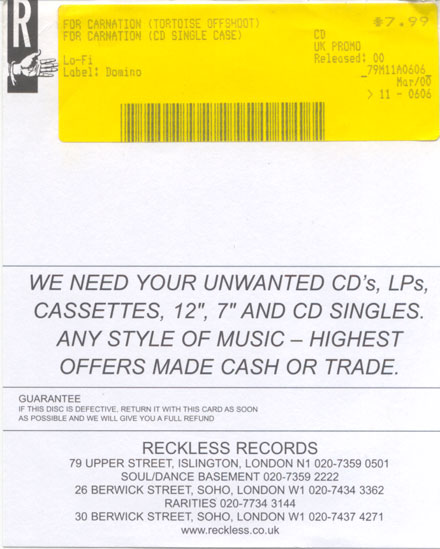 Reckless Records CD guarantee card from 2000