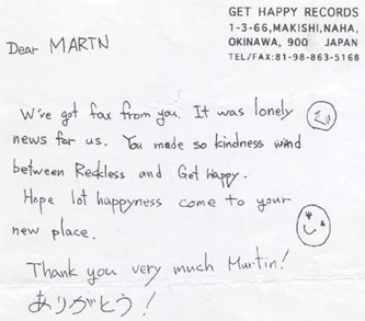 Fax from Get Happy records