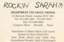 Rockin' Sarah business card