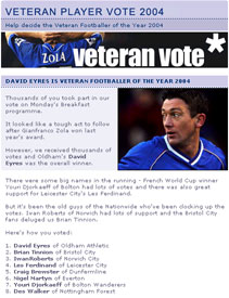 The results of the Five Live Veteran's Vote as displayed on the bbc.co.uk website