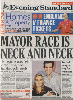 A picture of the Evening Standard front page from Wednesday 9th June 2004 proclaiming that the Mayor Race is Neck and Neck, based on a sample of 1,517 people