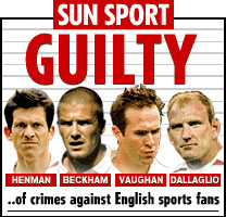 Back page of The Sun newspaper accusing Henman, Beckham, Vaughn and Dallaglio of crimes against English sports fans