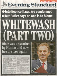 Front page of the West End Final edition of the Evening Standard - 14th July 2004 - Headline - Whitewash (Part Two)