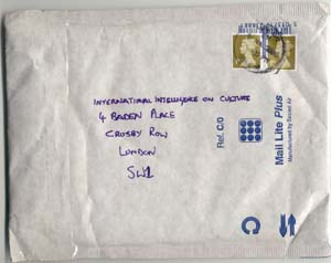 Scan of the envelope that the Royal Mail delivered back to my address