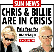 Screen grab of The Sun's web site with the headline 'Chris And Billie Crisis' on 25th September 2004