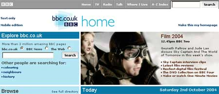 Screen grab of the bbc.co.uk homepage, illustrating the use of the new coloured text within the promotional space