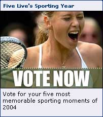BBC Radio Five Live homepage promotional space for the Sporting Year vote