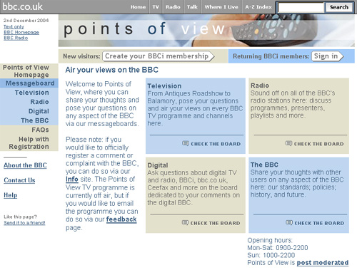 The Points of View homepage in 2004