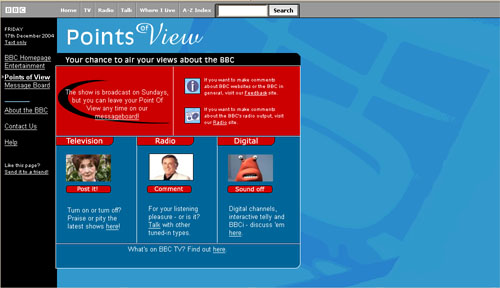 Screengrab of the old BBC Points of View message board homepage